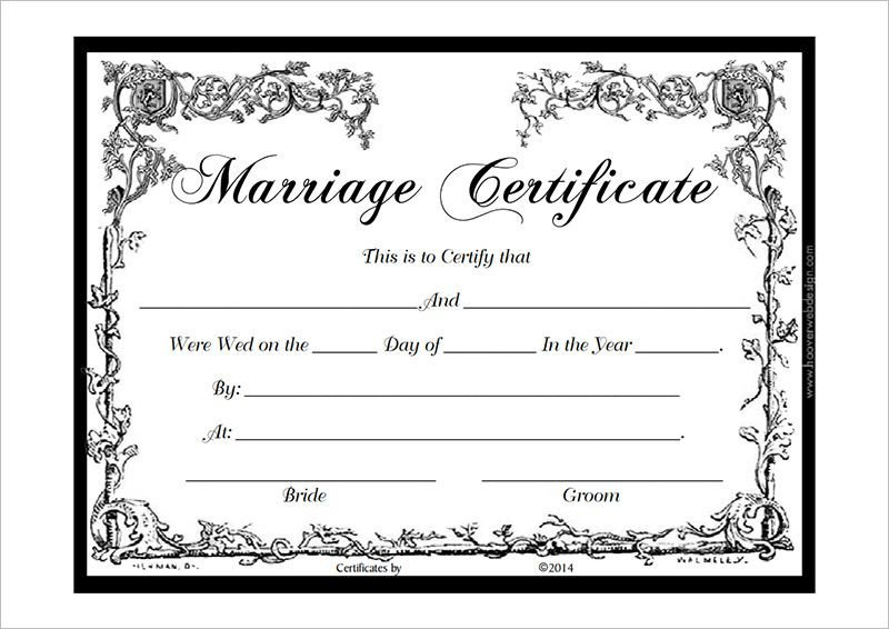 Free Marriage Certificate Template Marriage Certificate Template Pdf