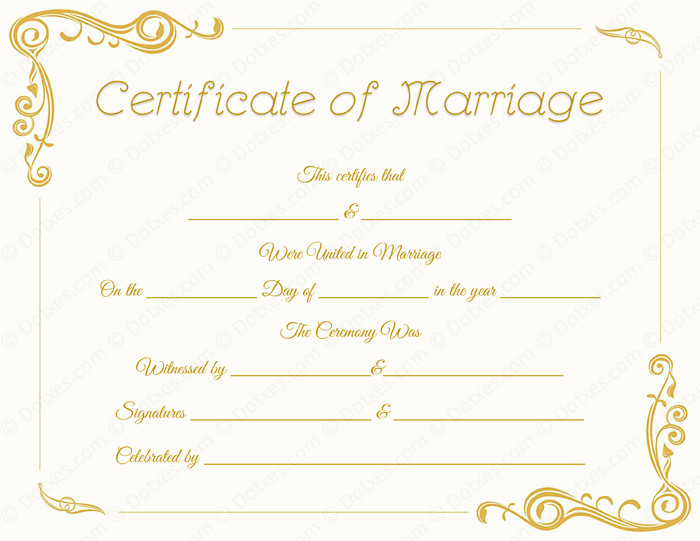 Free Marriage Certificate Template Standard Marriage Certificate Template Dotxes