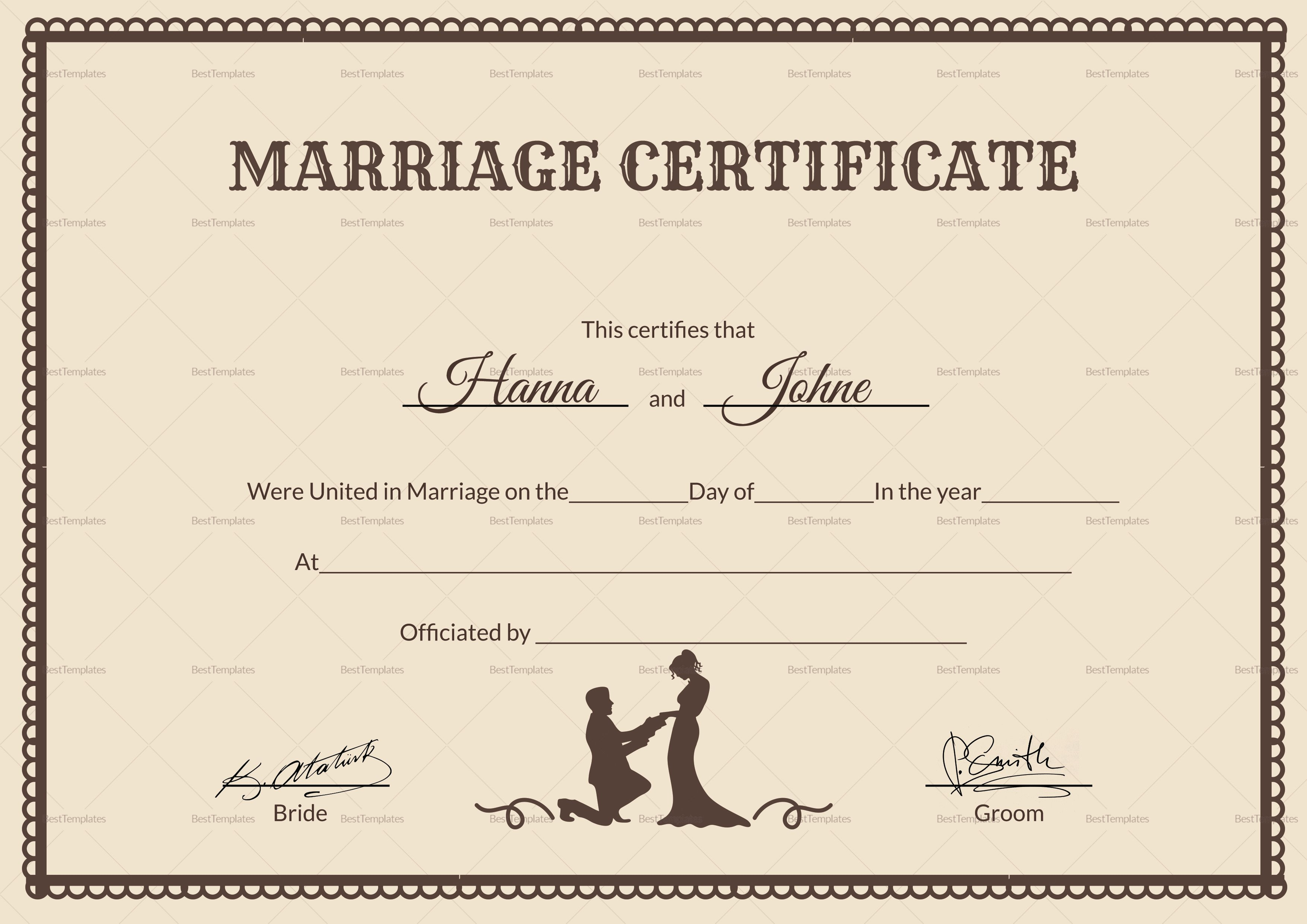 Free Marriage Certificate Template Vintage Marriage Certificate Design Template In Psd Word