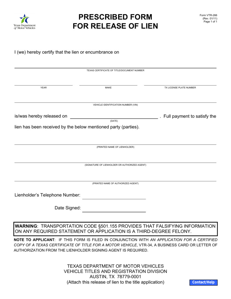 Free Mechanics Lien form Texas Vtr 266 Prescribed form for Release Of Lien
