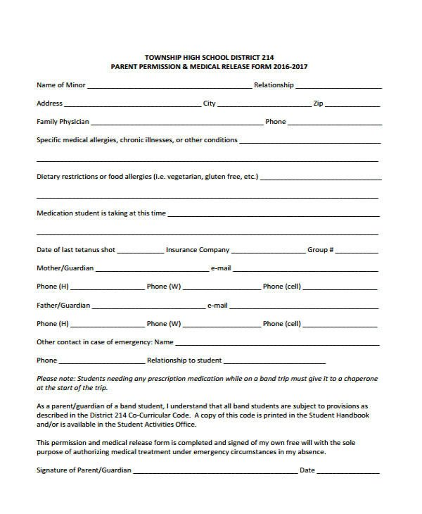 Free Medical Release form 21 Emergency Release form Example