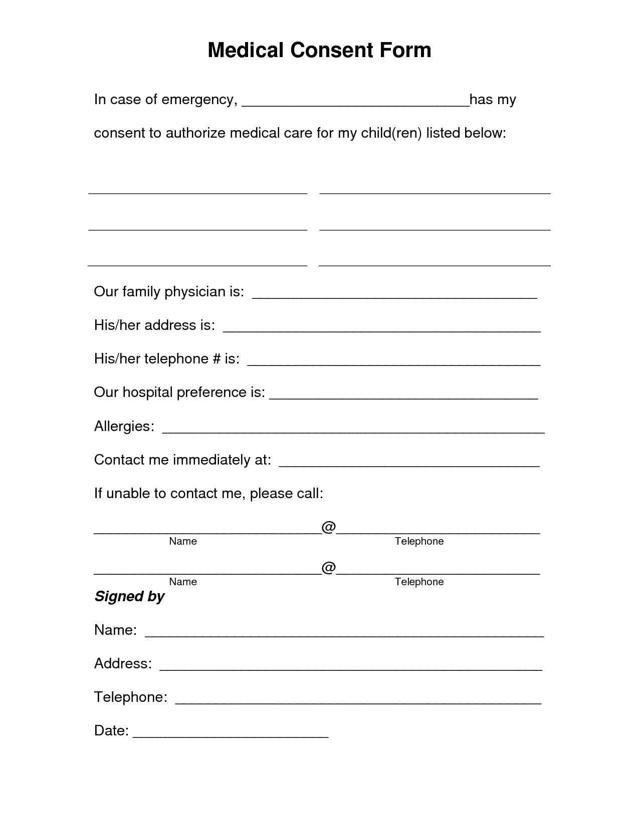 Free Medical Release form Free Printable Medical Consent form