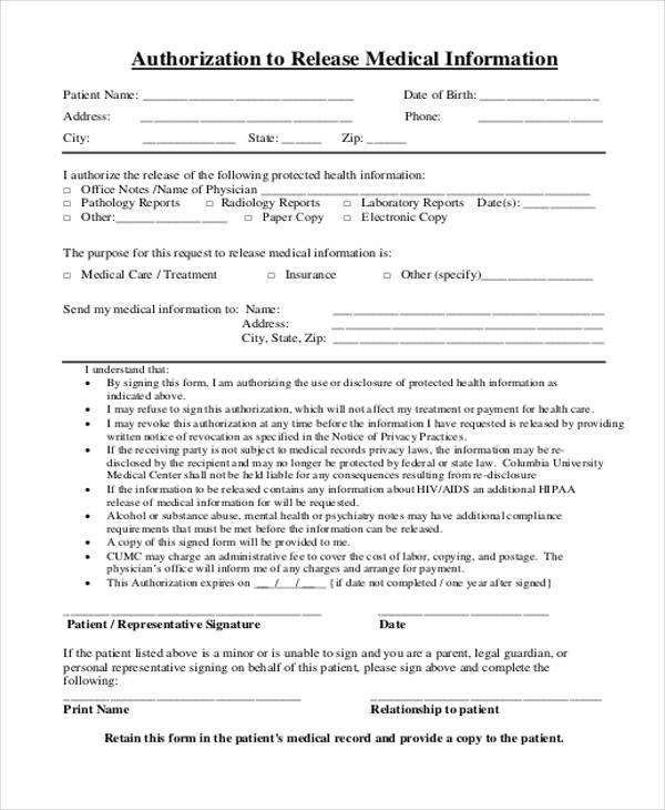 Free Medical Release form Free Release forms