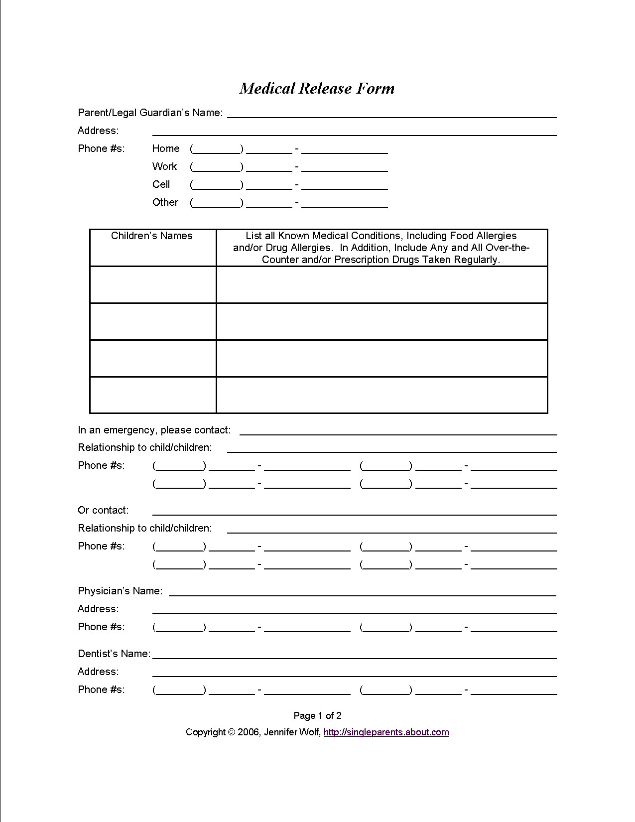 Free Medical Release form Medical Consent form when You Might Need E