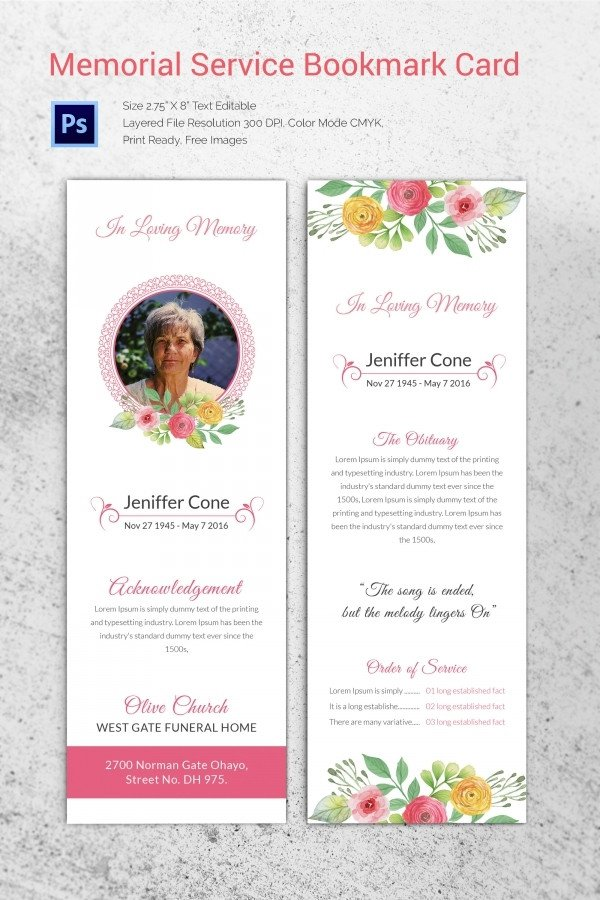 Free Memorial Card Template 20 Funeral Program Templates – Free Word Excel Pdf Psd