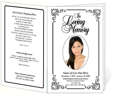 Free Memorial Card Template Cadence Funeral Program Template