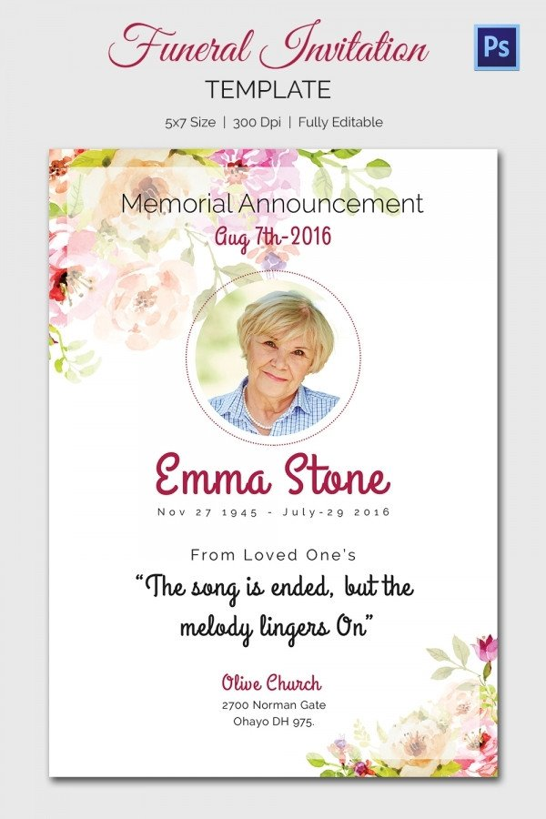 Free Memorial Card Template Funeral Invitation Template – 12 Free Psd Vector Eps Ai