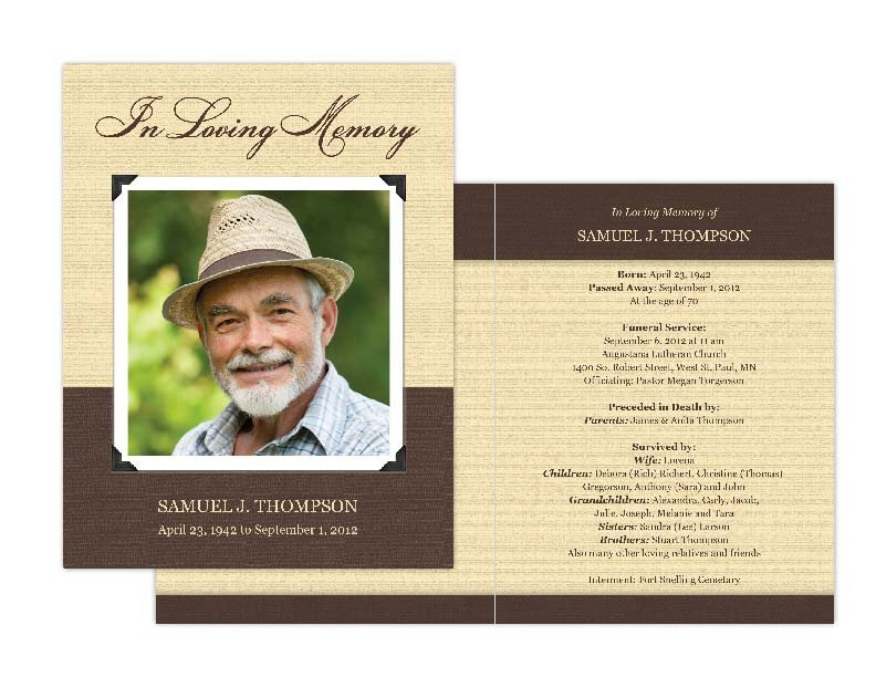 Free Memorial Card Template Memorial Cards Memorial Programs and Memorial Bookmarks