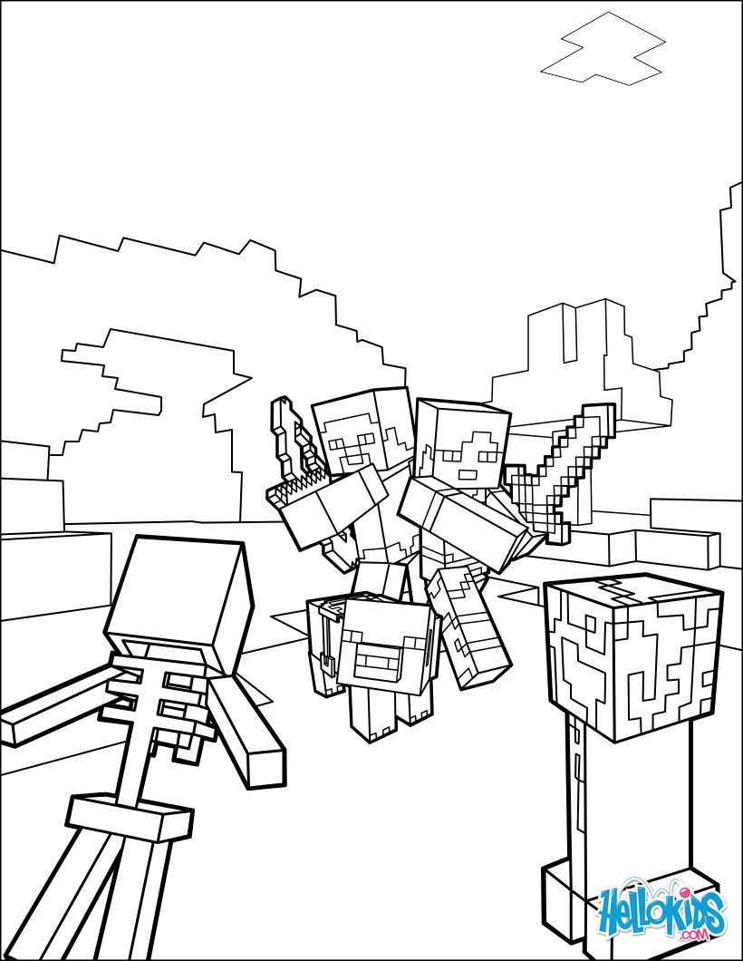 Free Minecraft Coloring Pages Minecraft Coloring Page Fight All the Mobs Coloring