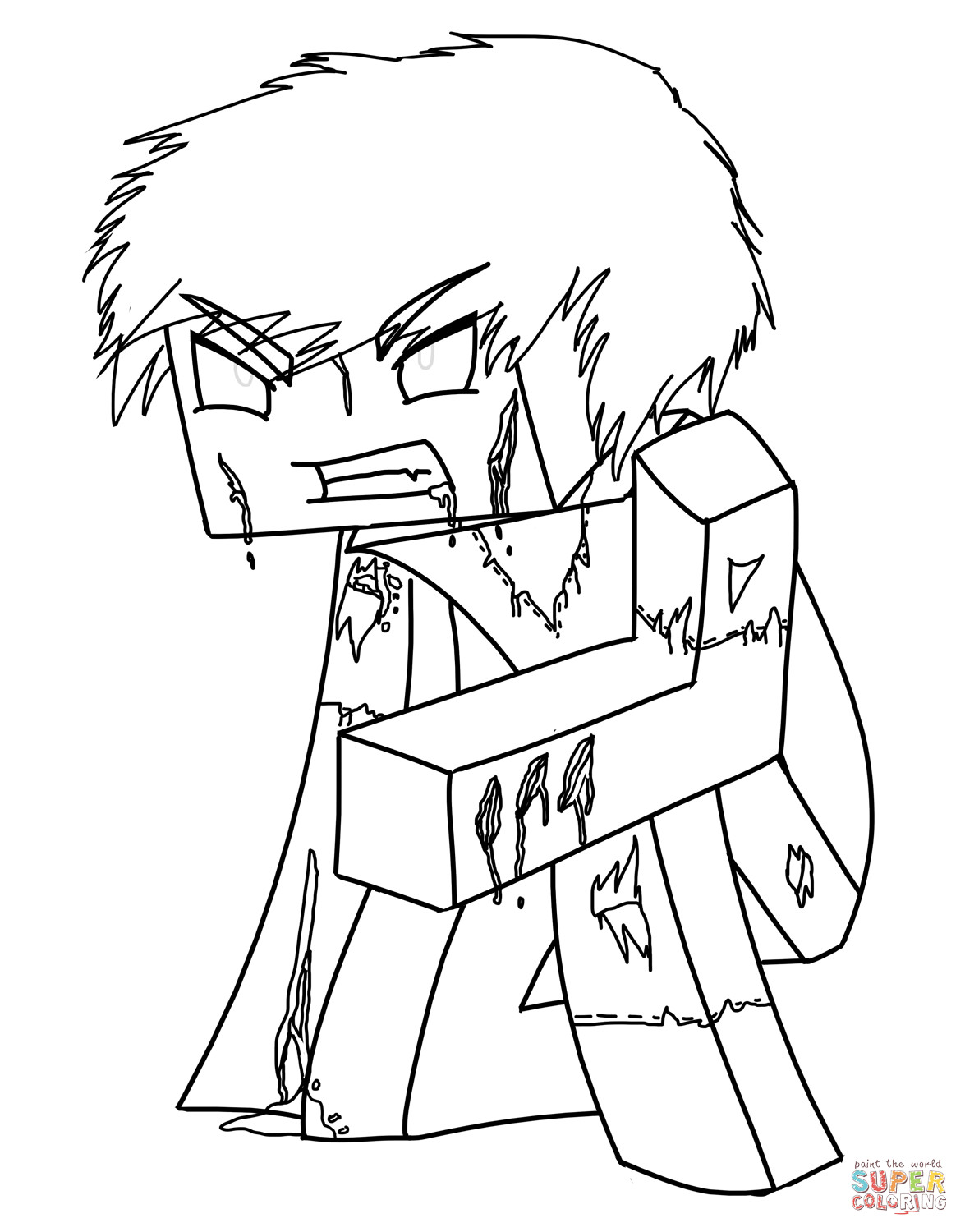 Free Minecraft Coloring Pages Minecraft Herobrine Coloring Page