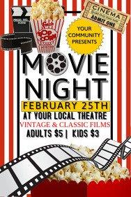 Free Movie Night Flyer Template 4 930 Customizable Design Templates for Movie Night