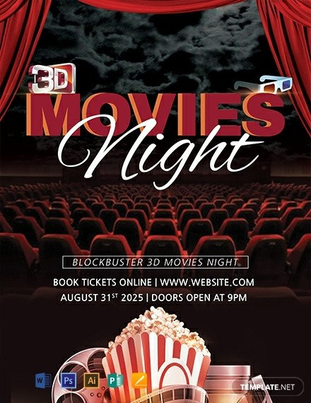 Free Movie Night Flyer Template Free 3d Movies Night Flyer Template Download 1423 Flyers