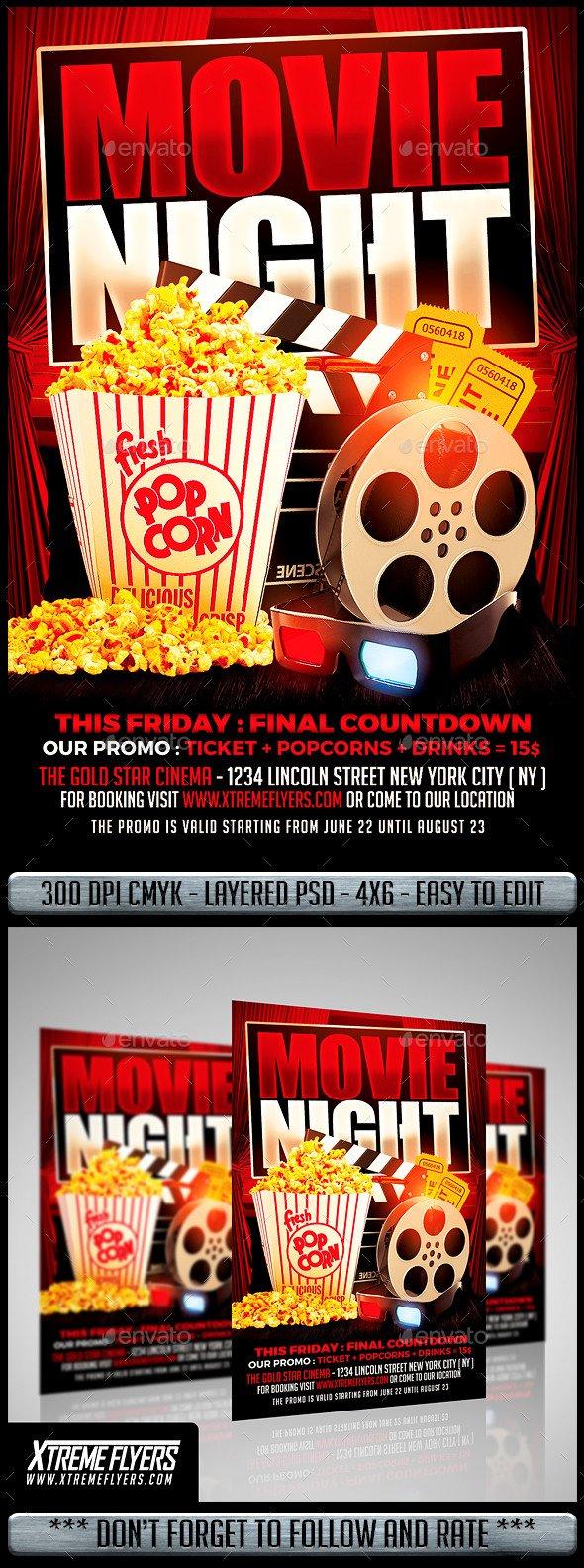 Free Movie Night Flyer Template Movie Night Flyer by Matteogianfreda