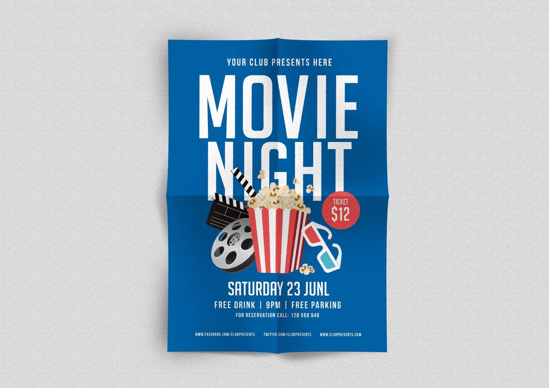 Free Movie Night Flyer Template Movie Night Flyer Flyer Templates Creative Market