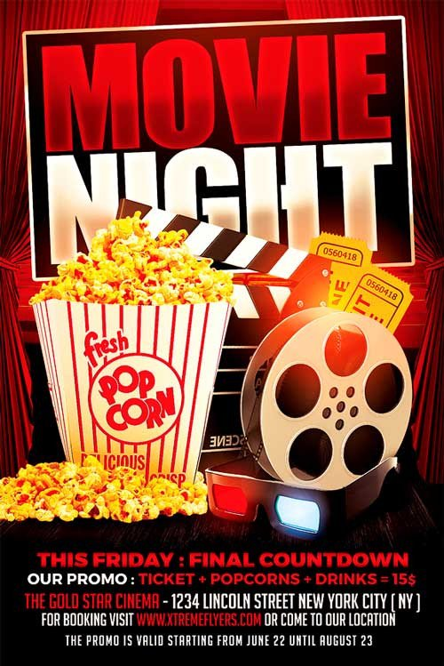 Free Movie Night Flyer Template Movie Night Flyer Template Xtremeflyers