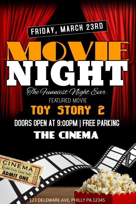 Free Movie Night Flyer Template Movie Night Template