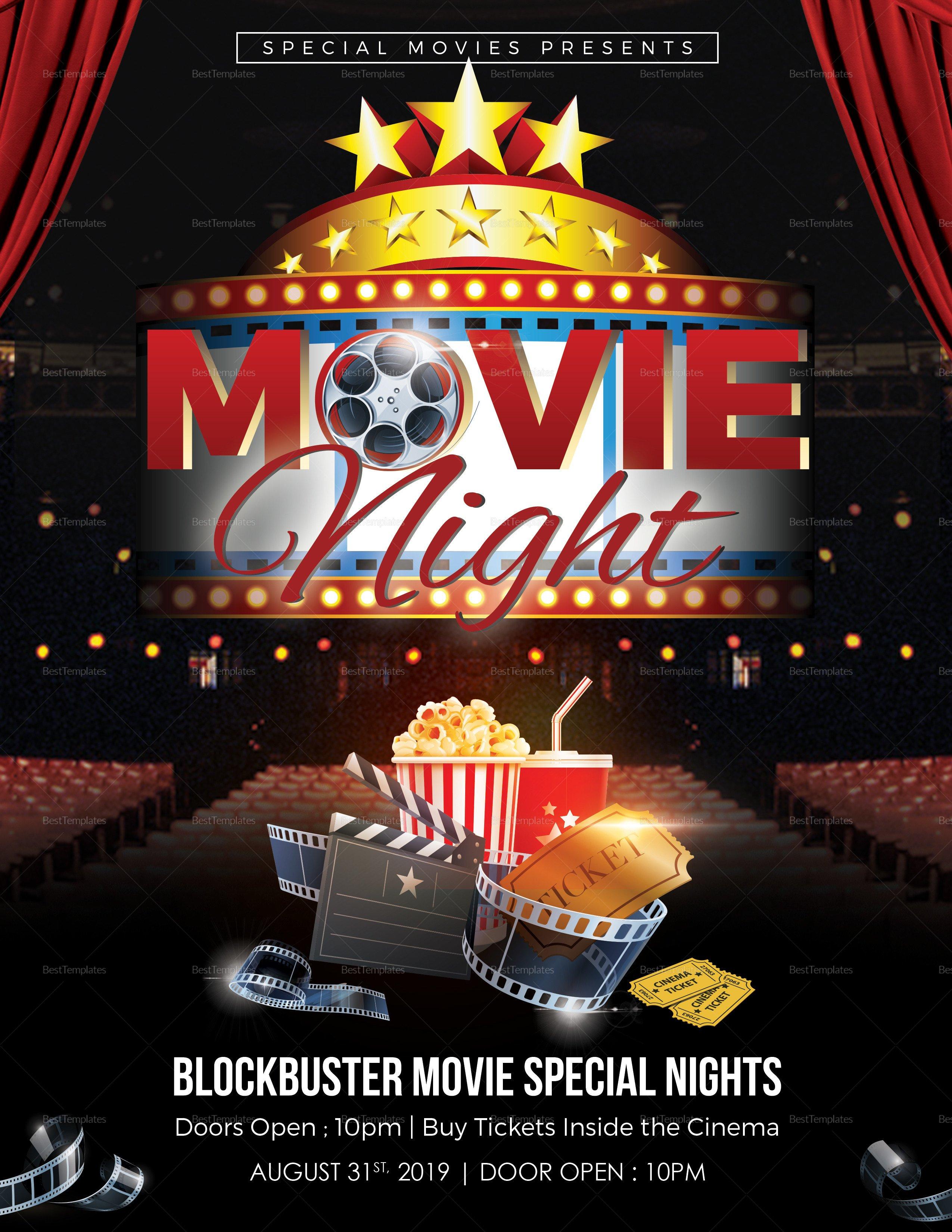 Free Movie Night Flyer Template Printable Movie Night Flyer Design Template In Word Psd