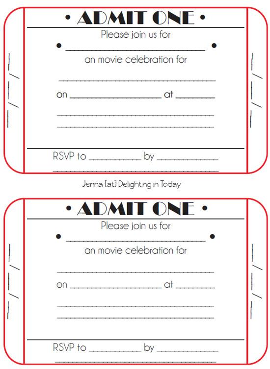 movie ticket birthday invitations free printable