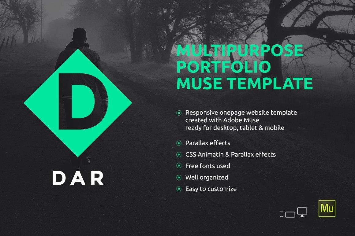 Free Muse Website Templates Dar Responsive Adobe Muse Template Website Templates
