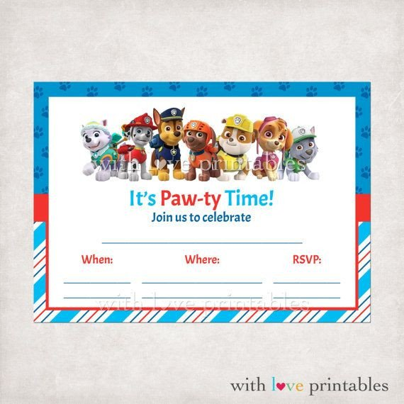 Printable Paw Patrol Fill in Blank Birthday Invitations