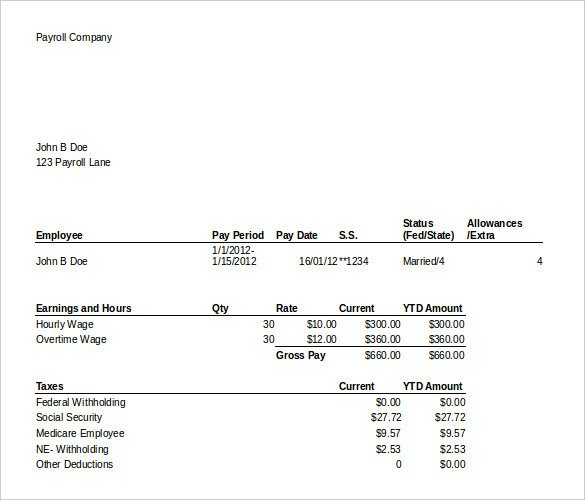 Free Pay Stub Template Excel 24 Pay Stub Templates Samples Examples & formats