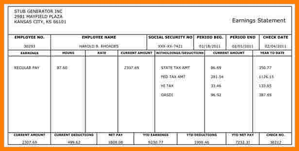 Free Pay Stub Template Excel 9 Paycheck Stub Template Free