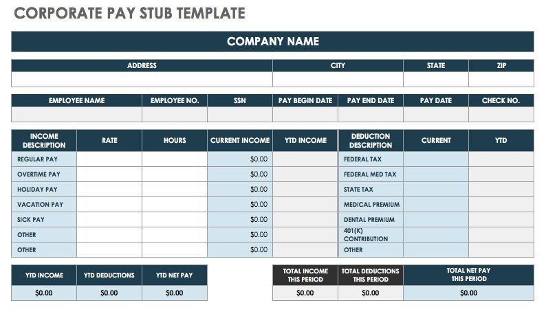 Free Pay Stub Template Excel Free Pay Stub Templates