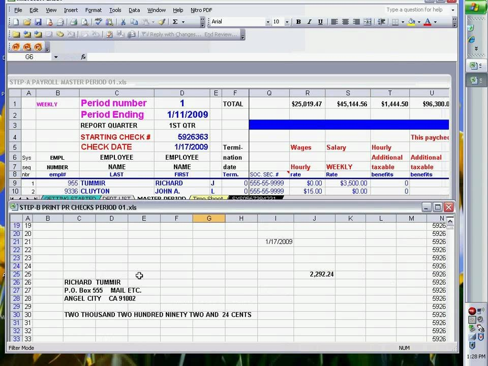 Free Payroll Checks Templates Payroll Checks Using Excel Ready to Print