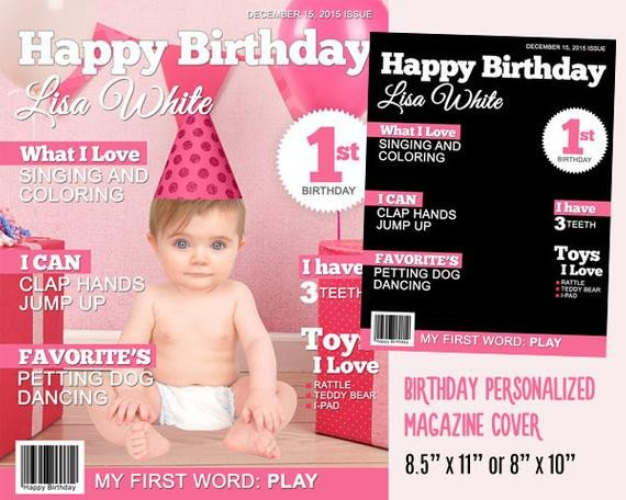 Free Personalized Magazine Covers Templates Personalized Baby Birthday Magazine Cover Template for Party