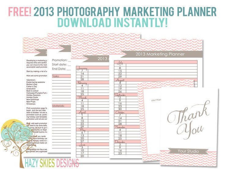 Free Photography Marketing Templates Free 2013 Graphy Marketing Planner