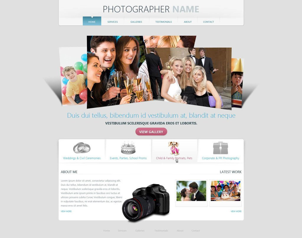Free Photography Website Templates Grapher Website Template