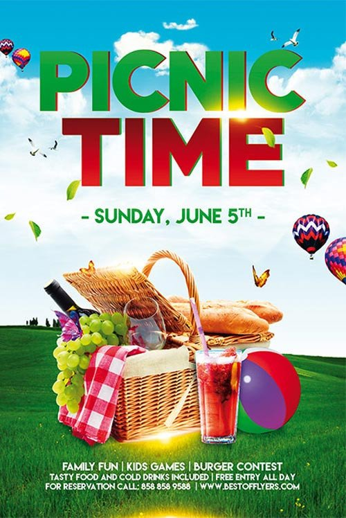 Picnic Time Free Poster Template for munity Picnic Events