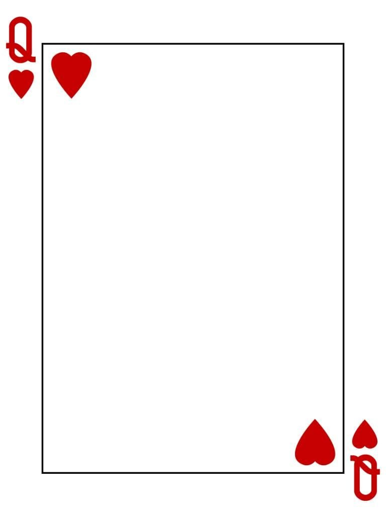 Free Playing Card Template Journal Card Queen Of Hearts Playing Card 3x4 Photo