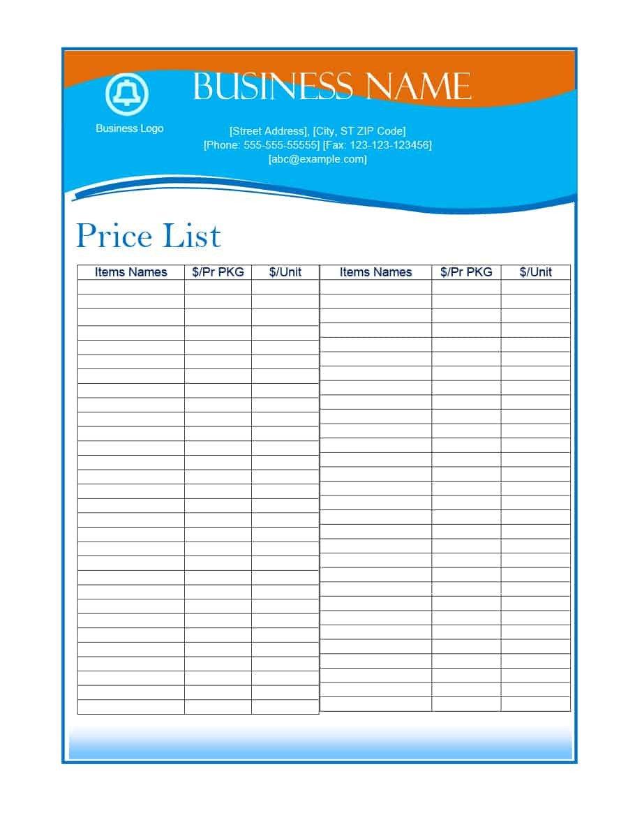 Free Price List Template 40 Free Price List Templates Price Sheet Templates