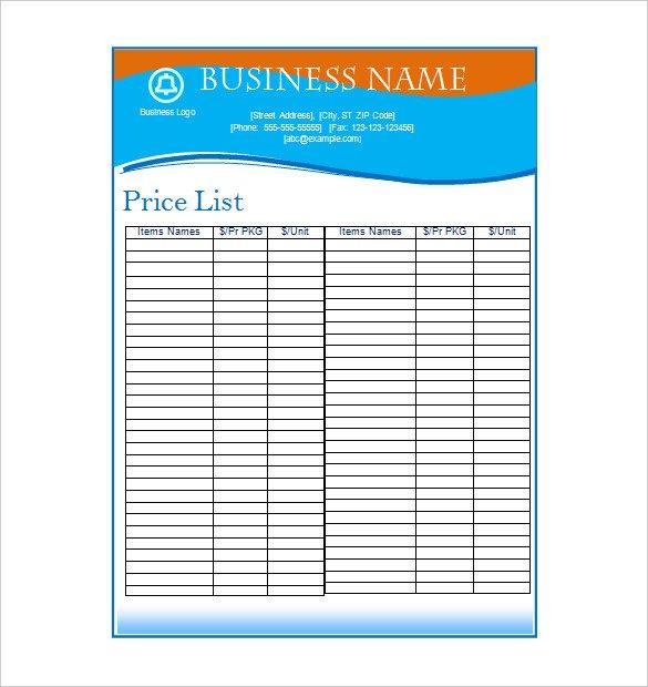 Free Price List Template Price List Template – 19 Free Word Excel Pdf Psd