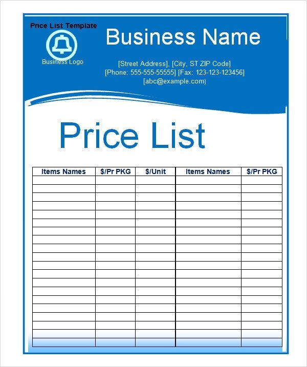 Free Price List Template Sample Price List Template 5 Documents Download In Pdf