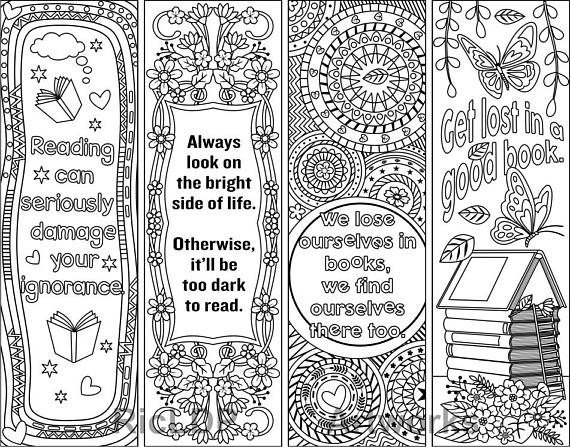 Free Printable Bookmark Templates Printable Coloring Bookmark Templates with Four Designs Plus