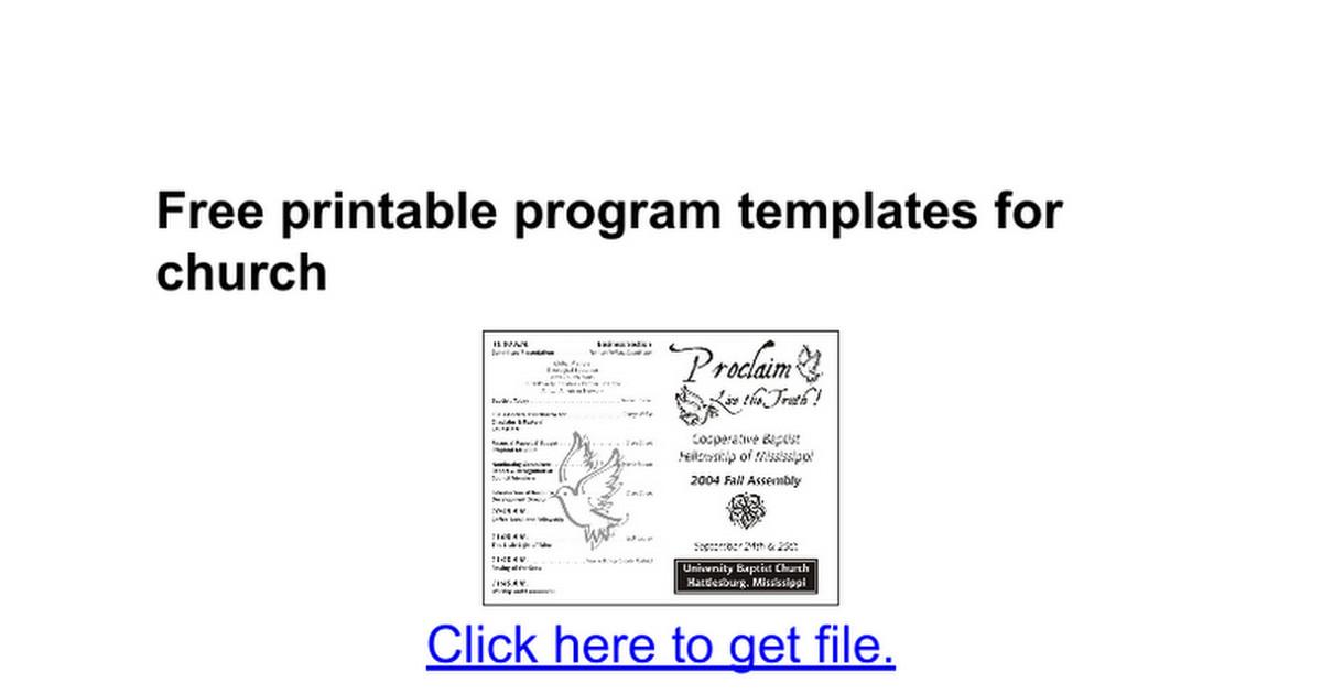Free Printable Church Program Templates Free Printable Program Templates for Church Google Docs