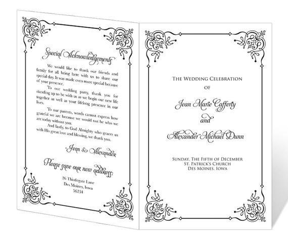 Free Printable Church Program Templates Wedding Program Template Printable Instant Download