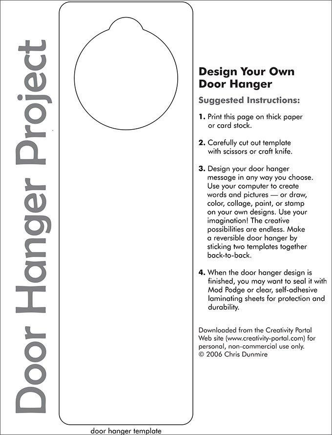 Free Printable Door Hanger Template Door Hanger Template