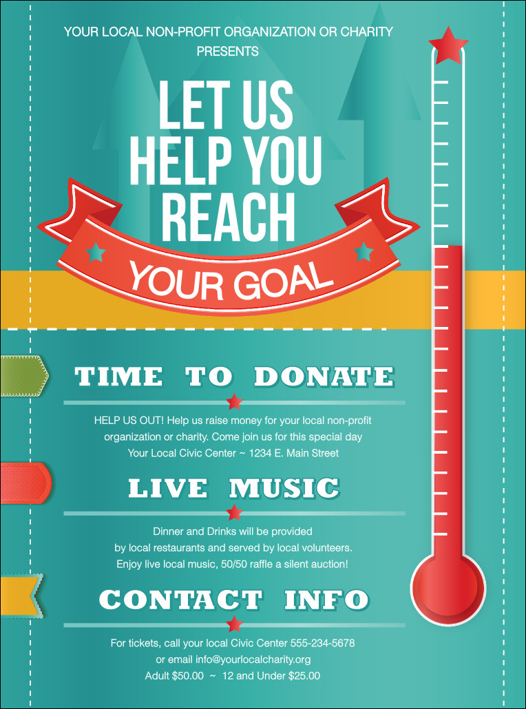 Free Printable Fundraiser Flyer Templates Fundraising thermometer Flyer