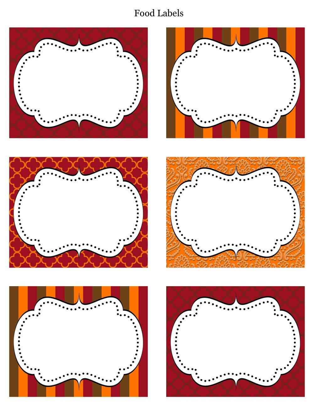 Free Printable Labels Template Free Thanksgiving Party Printables From Cupcake Express