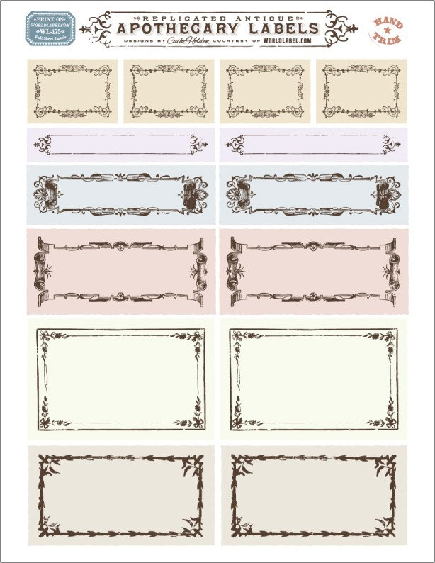 Free Printable Labels Template ornate Apothecary Blank Labels by Cathe Holden