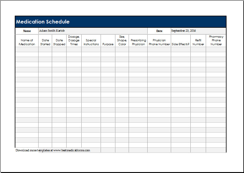 DAILY MEDICATION SCHEDULE Template for EXCEL