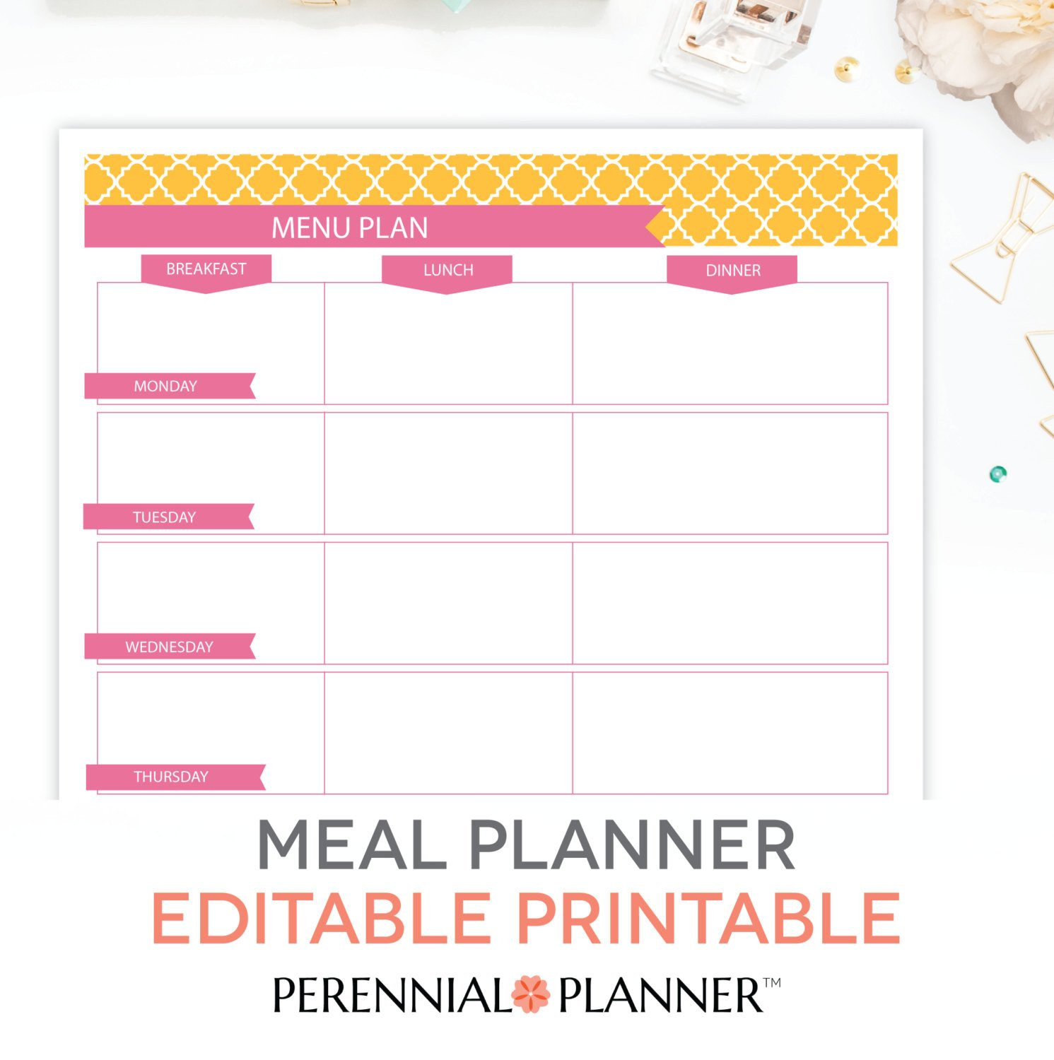 Free Printable Menu Template Menu Plan Weekly Meal Planning Template Printable Editable