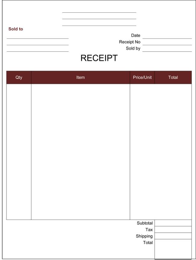 Free Printable Receipt Templates Cash Receipt Template 5 Printable Cash Receipt formats