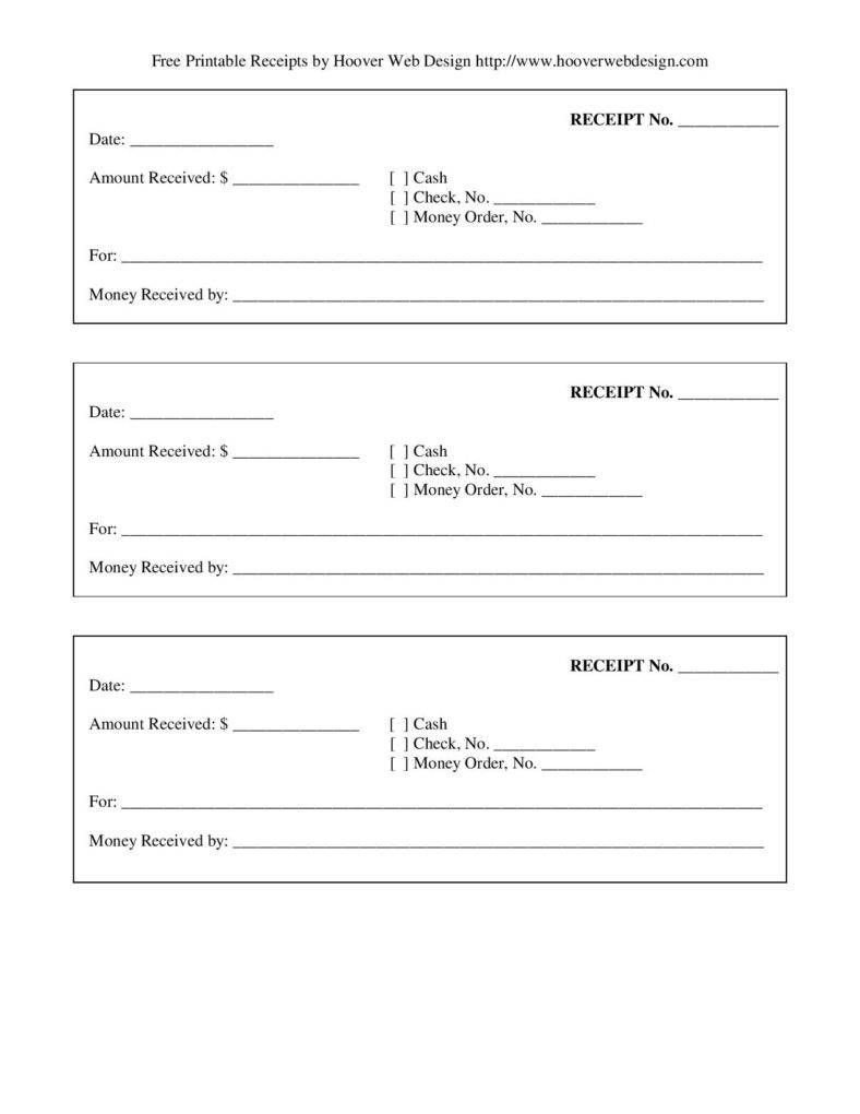 Free Printable Receipt Templates Free Printable Blank Receipt form Template Page 001