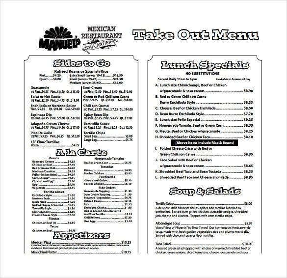 Free Printable Restaurant Menu Templates 20 Take Out Menu Templates – Free Sample Example format
