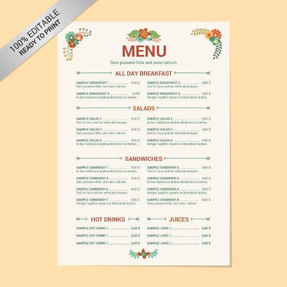 Free Printable Restaurant Menu Templates 23 Free Menu Templates Pdf Doc Excel Psd
