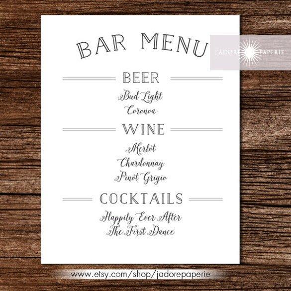 Free Printable Restaurant Menu Templates 35 Bar Menu Templates Psd Eps Docs Pages